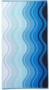 Arus Jacquard Woven Turkish Terry Cotton Beach Towel, Waves, Blue, 28x55