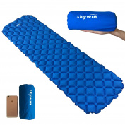 SKYWIN Camping Mat Ultralight Air Sleeping Pad, Air Touching Strong Fixing Support Design, Waterproof for Slight Floating Pad/ Air Cushion Made by TPU & 20D Nylon Size 190cm x 60cm in Blue