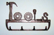 """""""ABC Products"""" - 5 - Hook - Heavy Cast Iron Tool Hook - With 4 Hooks - Hammer, Circular Saw, Screwdriver, Bolt - Wall Hung -"""