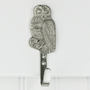 Highpoint Collection Satin Nickel Plated Owl Wall Hooks - Set of 4