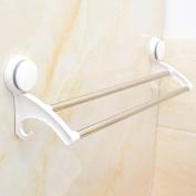 GOUGOU Strong suction cup towel rack / bathroom towel rack with hook / double bar towel bar