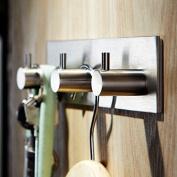 TOGU 3-Hook Wall Hooks Self Adhesive Hooks Stainless Steel Heavy Duty Waterproof For Kitchen Bathroom Door Hanger,Brushed Stainless Steel Finish