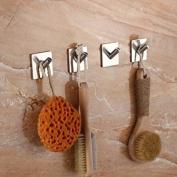 TOGU 1-Hook Wall Hooks Self Adhesive Hooks Stainless Steel Heavy Duty Waterproof For Kitchen Bathroom Door Hanger,Brushed Stainless Steel Finish