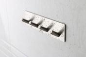 TOGU 4-Hook Wall Hooks Self Adhesive Hooks Stainless Steel Heavy Duty Waterproof For Kitchen Bathroom Door Hanger,Brushed Stainless Steel Finish