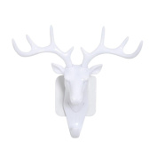YJYdada Decorative Wall Hook, Vintage Deer head Self Adhesive Wall Door Hook Hanger Bag Keys Sticky Holder
