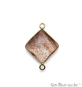 Copper Infused Bezel Connector 12mm Square Shape 24k Gold Plated Double Bail Link Pendant