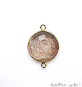 Copper Infused Bezel Connector 16mm Round Shape 24k Gold Plated Double Bail Link Pendant