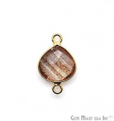 Copper Infused Bezel Connector, 10mm Heart Shape, 24k Gold Plated Double Bail Link Pendant