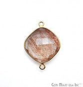 Copper Infused Bezel Connector, 16mm Cushion Shape, 24k Gold Plated Double Bail Link Pendant