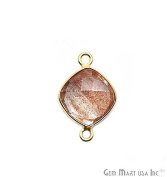 Copper Infused Bezel Connector, 10mm Cushion Shape, 24k Gold Plated Double Bail Link Pendant