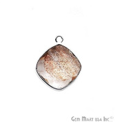Copper Infused Bezel Connector 14mm Cushion Shape Silver Plated Single Bail Link Pendant