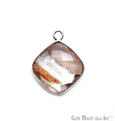 Copper Infused Bezel Connector 12mm Cushion Shape Silver Plated Single Bail Link Pendant