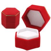 Doober Hexagonal Finger Ring Box Jewellery Display Holder Velvet Ring Storage Box Case