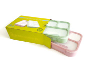PlusPoint Leakproof Bento Lunch Box Set - 2 in 1 price ,4 Compartments + Spoon,Microwave Safe,BPA Free and FDA Approved for Kids & Adults