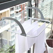 Detech Indoor/Outdoor Easy Instal Folding stainless steel clothes drying rack Laundry Hanger on Windowill Guardrail Corridor BathroomBalcony