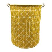 Mziart Collapsible Laundry Basket Hamper Cotton Fabric Nursery Toy Storage Basket for Bedroom Nursery Dorm Closet