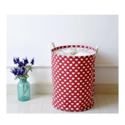 S Kaiko Cotton Linen Laundry Hamper Foldable Round Hampers for Laundry Pop Up Laundry Hampers Laundry Bin Laundry Basket Nursery Hamper with Dots Storage Bin for Clothing and Toy 3545 cm
