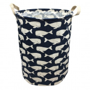 Mziart Collapsible Waterproof Laundry Hamper Bucket, 41cm x 33cm Closet Laundry Basket, Cotton Fabric Nursery Toy Closet Storage Basket Bag