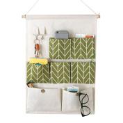 Pawaca Waterproof Moistureproof Linen Cotton Fabric Wall Door Cloth Hanging Storage Bag Case 7 Pockets and 2 Hooks Home Kitchen Organiser - Green