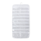 Owfeel Hanging Jewellery Organisers Bag With 72 Display Clear Transparent Pockets Place White Colour