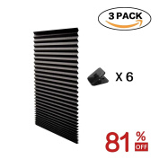 H.Versailtex 3 x Black Affordable Instant Temporary Pleat Paper Blinds, Provides Instant Security, Privacy & Style, Quick Fix & Easy to Instal, 90cm x 180cm