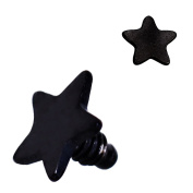 Black 4mm PVD Plated Star Dermal Top Implant Grade Surgical Steel 1.6mm Thickness