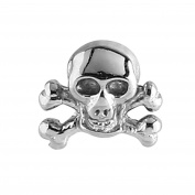 Micro Dermal Anchor Attachment. Skull and Crossbones top only. Surgical Steel. For use with internal threaded shafts that measure 1.6mm (1.2mm thread on attachment).