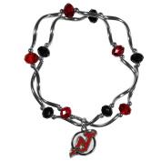 NHL New Jersey Devils Women's Crystal Bead Bracelet, Stretch