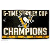 Pittsburgh Penguins 5 Time Stanley Cup Champions Flag