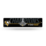 NHL Pittsburgh Penguins 2017 Stanley Cup Champions High-Res Plastic Street Sign, Black, 10cm x 41cm