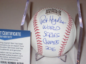 Pat Hughes Autographed Baseball - Official 2016 WORLD SERIES w Beckett COA & Inscript - Beckett Authentication