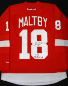 "KIRK MALTBY AUTOGRAPHED DETROIT RED WINGS RED JERSEY INSCRIBED ""CUP 97-98-5.1cm - 20cm"
