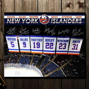 New York Islanders Retired Numbers Banners Autographed 16x20 Signed by 6 - Autographed NHL Photos