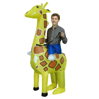 Decdeal Adorable Adult Inflatable Costume Cute Giraffe Inflatable Fancy Dress for Festival Party Gala Parade Halloween Carnival Party Cosplay Prop
