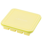 Levivo Ice Cube Tray with Lid, Silicone Mould with incorporated Metal Core in The Frame, For 16 Ice Cubes, Each of which is 2.5 x 2.5 cm, Suitable For Freezing or as A Praline Mould, Yellow & Green