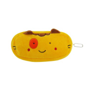 E-Goal Cute Soft Plush Pencil Holder Cosmetic Makeup Pouch Coin Bag-Yellow Cat