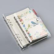Zhi Jin A6 Standard 6 Holes Transparent Soft PVC Notebook Round Ring Binder Cover Protector Loose leaf Folder A6-19.513cm