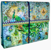 Punch Studio Accordion File Holder with Bungee Closure - Blue Rose Peacock 65727