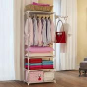 Asunflower Compact Rod Garment Rack, Free Standing Steel Clothes Shelf Units Portable Closet - Grey