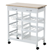 Eight24hours Oak Kitchen Island Cart Trolley Portable Rolling Storage Dining Table 2 Drawers .