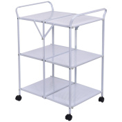 Eight24hours 3 Tiers Folding Steel Kitchen Trolley Dining Serving Island Cart Rolling White