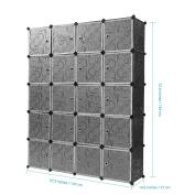 ZideTang 20-Cube DIY Modular Shelving Storage Cube Organising Closet with Doors Design Colour Black