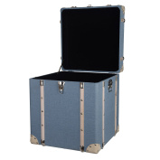 A & B Home Inc. Pale Blue MDF and Linen Kinsley Decorative Storage Trunks