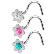 3pcs 20g 0.8mm Clear Rose Blue Zircon Nose Screw Rings Flower Nostril Corkscrew Hook Stud Surgical Stainless Steel Crystals