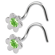 2pcs 20g 0.8mm Nose Screw Rings Flower Nostril Corkscrew Hook Stud Surgical Stainless Steel Crystal Pick Colour