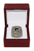 PITTSBURGH PENGUINS (Sidney Crosby) 2016 STANLEY CUP FINALS WORLD CHAMPIONS (4X Champs) Rare & Collectible High-Quality Replica NHL Hockey Gold Championship Ring with Cherrywood Display Box