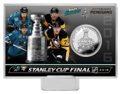 NHL San Jose vs Pittsburgh 2016 Stanley Cup Final Duelling Coin Card, 20cm x 10cm x 2.5cm , Silver