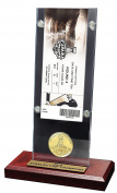 NHL Pittsburgh Penguins 2016 Stanley Cup Champions Acrylic Desk Top Ticket & Coin, Bronze, 30cm x 5.1cm x 13cm