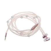 SCASTOE 3.5mm Luxury Pearl Necklace Earphones with Microphone In-ear Super Stereo Wired Headphone -Pink