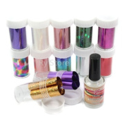 2 in 1 Professional 12 Mix Star Pattern Fashion Design Glitzy Transfer Nail ART Foil Roll with 15ml Adhesive Glue Nail by RY